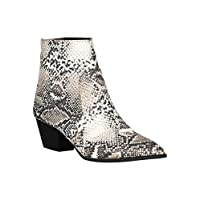 Alrisco Women Printed Pointy Toe Chunky Heeled Booties RB77 - Beige Brown Snake (Size: 6.0)