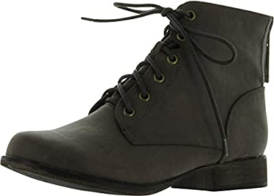 Breckelle's Women's Georgia-43 Faux Leather Ankle High Lace up Combat Boots