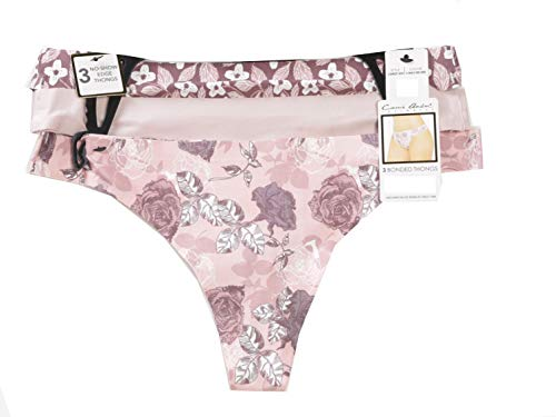 Carrie Amber Intimates Printed Lasercut Thong - 3 Pack, Mauve Rose/Rose Dust/Wine, XLarge