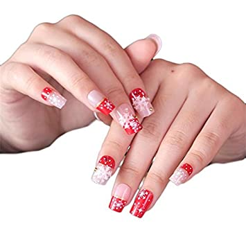jindin 24 sheet christmas fake nails full cover design acrylic white snowflake star nail art tips