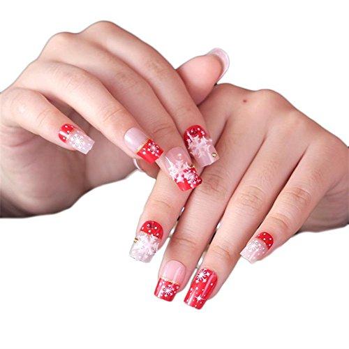 JINDIN 24 sheet Christmas Fake Nails Full Cover Design Acrylic White Snowflake Star Nail Art Tips for Women Holiday Fingernail Decors]()