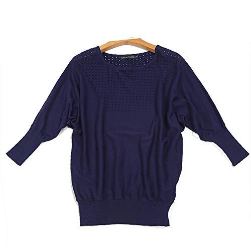 Femme 42 EU Manches XL Bleu Top DISSA Pull 3 Lache Solide Couleur M1619120 4 OgWzw6fq