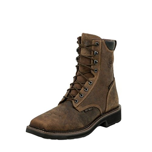 Justin Mens Barnwood Leather Work Boots Comp Toe Lace-Up 8in WP 8.5D