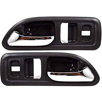 Inside Interior Inner Door Handle Gray//Chrome Lever Front Left//Right Pair PT Auto Warehouse HO-2379MG-FP