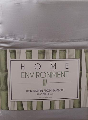 Home Environment Grey King Sheet Set 100% Rayon from Bamboo - Antibacterial Eco-Friendly