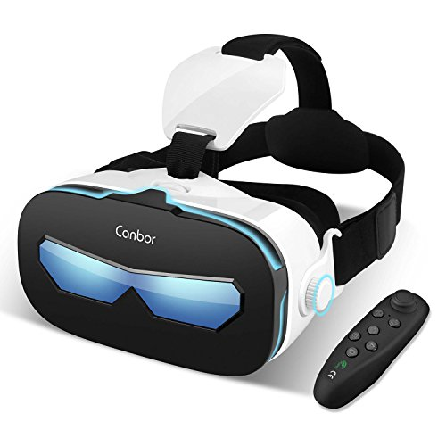 Canbor VR Headset with Remote Controller, Virtual Reality Headset 3D VR Goggles Glasses for 3D Movies and Games Compatible with 4.0-6.3 Inches Apple iPhone, Samsung Sony More Smartphones by Canbor