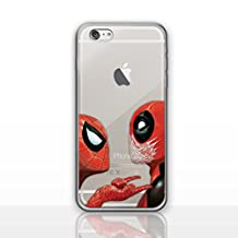 iPhone 5/5s Deadpool Silicone Phone Case / Gel Cover for Apple iPhone 5s 5 SE / Screen Protector & Cloth / iCHOOSE / Deadpool & Spiderman