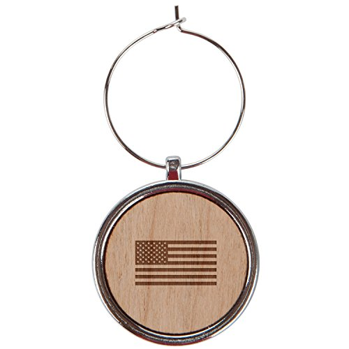 American Flag Wood Wine Glass Charms Set Of 6-1 Inch Laser Engraved Wine Glass Charms For Stemmed Wine Glasses - Wine Glass Charm Gift - American Flags Laser Charm