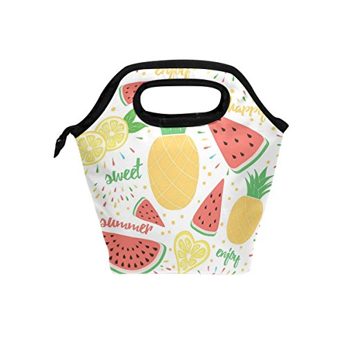 Lunch Tote Watermelon Pineapple Lemon Leaf Summer Mens Insulated Lunch Bag Zipper Kids Lunch Box