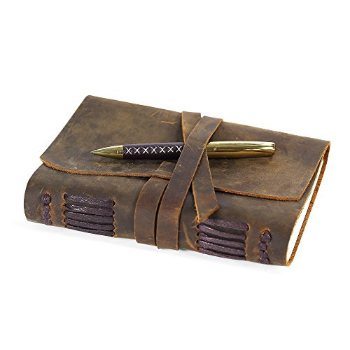 Leather Journal Travel Diary, Handmade Vintage Writing Bound Notebook For Men & Women, Antique Soft Rustic Leather 5 x 7 - Quality Unlined Paper Perfect for Notes Sketchbook - Hidden Pen-holder + Pen
