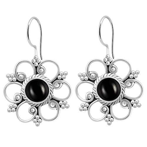 1.9 Ctw Black Onyx Earrings By Orchid Jewelry: Dangle and Hypoallergenic Earrings For Sensitive Ears, Nickel Free Wedding Dangling Sterling Silver Earrings, Bridal Earrings For Teens Girl