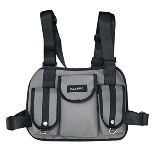 Fashion Chest Rig Bag,Crytech Tactical Radio Chest Harness Multipurpose Front Chest Pack Pouch Holster Vest Rig Sport Backpack Daypack for Two Way Radio Walkie Talkie for Women Men (Gray)