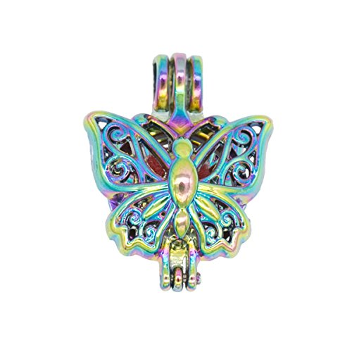 Butterfly Pearl Bead Cages Locket Pendant Perfume Essential Oil Diffuser Craft Jewelry Making Bracelets DIY ()