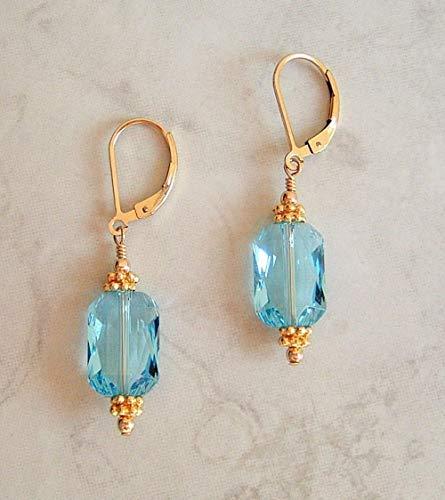 Aqua Blue Rectangle Crystal Swarovski Elements Leverback Earrings Gold Filled -