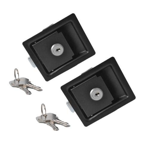 Idyandyans 2PCS Black Paddle Entry Door Latch 84 x 68mm& w/Keys Replacement for Tool Box Lock Trailer Caravan Truck RV ()