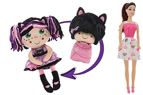 [Flip Zee Girls Zuri Kitty Cat Sweet and Cuddly 2-in-1 Plush Doll BONUS Flipzee girls mini babies (Dolls vary) series 1 pack of four! Zuri] (Homemade Kitty Cat Halloween Costume)