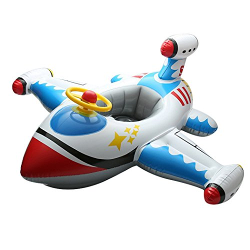 Inflatable Airplane Baby Kids Toddler Infant Swimming Float Seat Boat Pool Ring (White) Airplane Floats