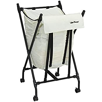 household essentials lifter hamper spring loaded rolling laundry bag cloth lid white basket with handle cart