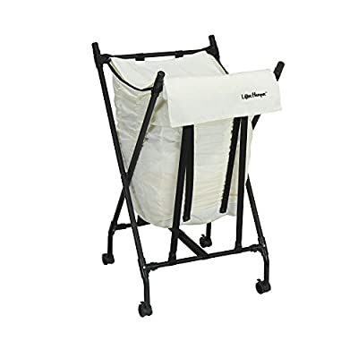 Household Essentials LH1005 Lifter Hamper Spring Loaded Rolling Laundry Bag with Cloth Lid - White - Bungee spring loaded clothes hamper - bag lowers as weight is added and rises as items are removed Easy to maneuver-4 multi-directional locking castor wheels Folds for easy storage when not in use to a space saving 3 inches wide - laundry-room, hampers-baskets, entryway-laundry-room - 41sg9t eU3L. SS400  -