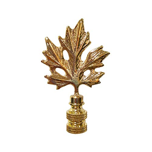 Finial Lamp Leaf - Royal Designs F-5062PB-1 Maple Leaf Design Lamp Finial, Polished Brass