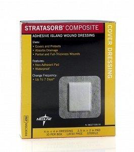 (Medline Stratasorb Composite Island Wound Dressing - 4 x 4 Inch)