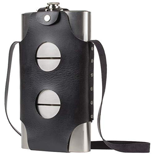 Maxam's Jumbo 72-ounce Triple Threat Stainless-Steel Liquor Flask, 3 - 24 Ounce Flasks