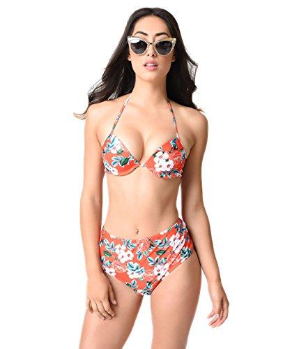 Retro Style Orange Red Cherry Blossom Print Push Up Bikini Top