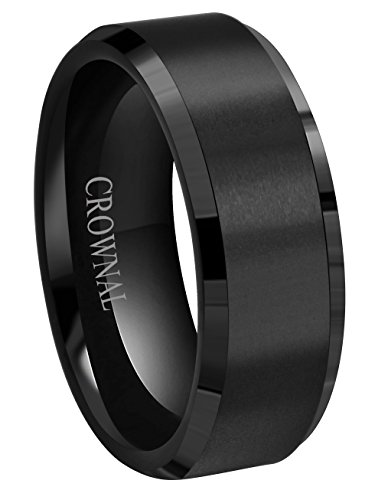 6mm 8mm 10mm Black Tungsten Wedding Band Ring Men Women Matte Finish Beveled Edges Comfort Fit Size 5 To 17 (8mm,8)