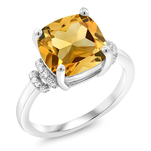 Gem Stone King 3.51 Ct Cushion Yellow Citrine 925 Sterling Silver Ring (Size 9)