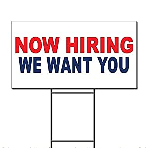 Now Hiring We Want You rojo azul plástico corrugado Yard Sign/libre juego 12 x 18 pulgadas Dos Lados Color