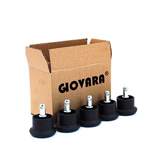 GIOVARA - Juego de 5 Ruedas deslizantes para Silla de Oficina (11 mm x 22 mm, 50 mm de diametro), Color Negro