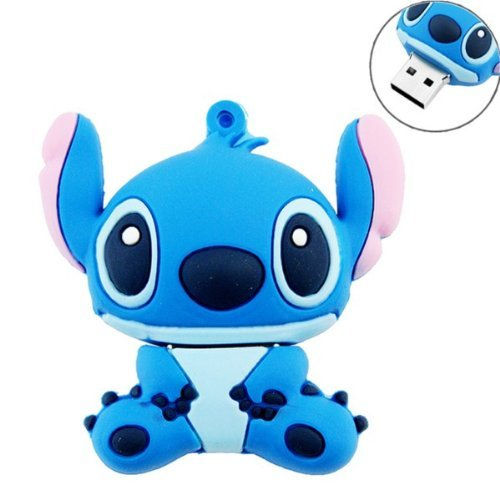 (Novelty Stitch Blue Shape Design 16GB USB 2.0 Flash Drive Cute Memory Stick Stitch Thumb Drive Data Storage Pendrive Cartoon Jump Drive Gift (Stitch Blue-16GB))