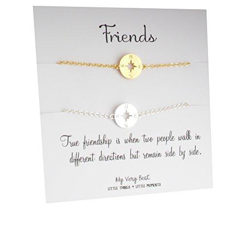 My Very Best Dainty Compass Bracelet for 2, BFF Friendship Gift Bracelet