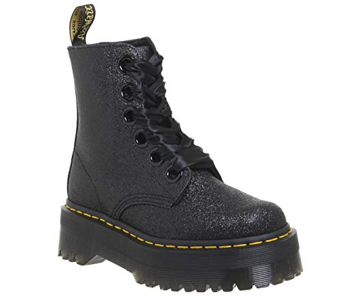 Dr. Martens Women's Molly Glitter 6 Eye Boots, Black, 9 M US]()