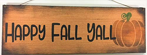 Happy Fall Yall Pumpkin Autumn Country Thanksgiving Wooden