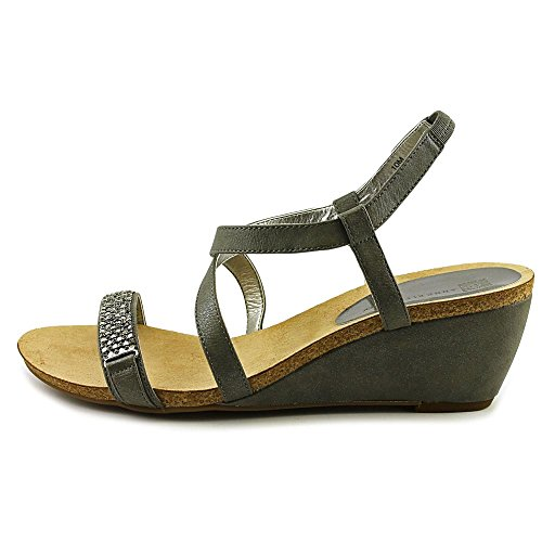 Anne Klein Womens Jasia Wedge Sandal Pewter Synthetic