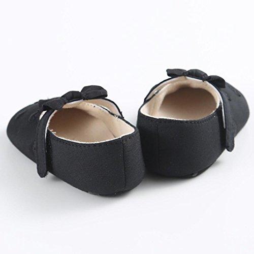 Hunpta Baby Mädchen Bogen-Knoten Canvas Schuhe Sneaker rutschfest weiche Sohle Schuhe (Alter: 6 ~ 12 Monate, Weiß) Schwarz