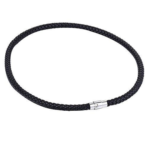 Silver Leather Necklace - Trendsmax 6mm Black Braided Cord Rope Man-made Leather Necklace w/Silver Tone Stainless Steel Clasp