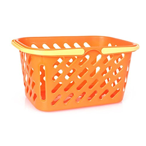 TOYMYTOY Shopping Basket Toy Portable Kids Plastic Grocery Basket with Handle for Children Kids Kitchen Pretend Play Toy (Orange) -