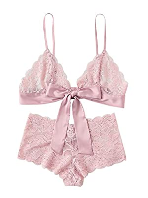 SweatyRocks Women's Tie Front Lace Bralette and Pantie Lingerie Set
