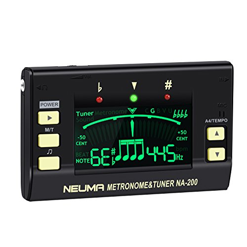 Bass Metronome - NEUMA 3-in-1 Digital Metronome Tuner, Professional Instrument Tuner with Large LCD Screen for Guitar, Bass, Violin, Ukulele, Chromatic Tuning, Battery Included
