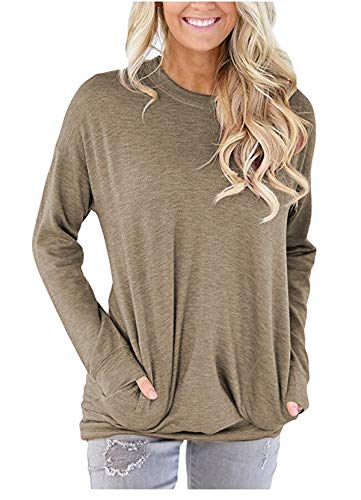 onlypuff Solid Color Shirts For Girls Women Round Neck Shirts Tunic Tops Batwing Long Sleeves Soft, XX-Large, Khaki