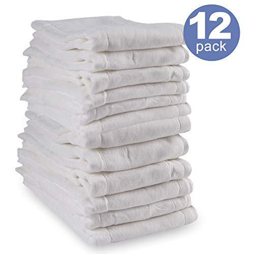 Mifidy Baby Cloth Diaper,Prefold Cotton 3-Ply Absorbent Diapers,White 12 Count