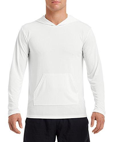 (Gildan Men's Performance Hooded Tee Shirt, White, XX-Large)