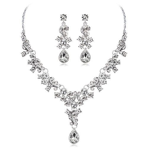 LOVFASH Women's Wedding Bridal Crystal Teardrop Cluster Statement Necklace Dangle Earrings Set