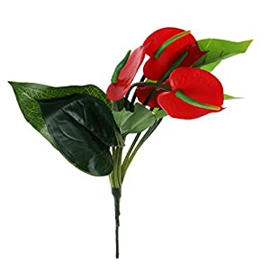 LIYUDL Artificial Fake Red Anthurium Flowers Plants Simulation Ornaments for Garden Home Weeding Party Office Table Centerpieces Vase Decoration 74