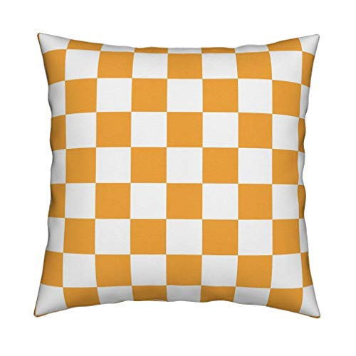 Vols Organic Sateen Throw Pillow Volunteers Tennessee Tennessee Plaid Orange Plaid Orange Tartan Football by Jenlats Cover and Insert Included ()