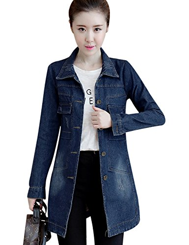 Tanming Women's Button Front Mid Long Denim Jean Jacket Coat (Large, Dark Blue)
