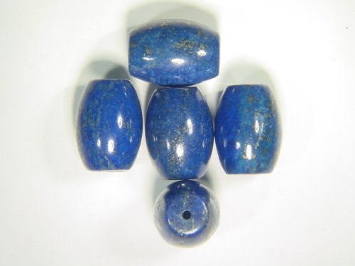 Barrel Lapis - (5) Natural AAA Afghanistan Lapis Lazuli 11 x 16mm Barrel Beads Lapidary