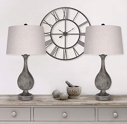"""29"""" Grey Washed Faux Wood Polyresin Table Lamp Set with Teardrop Vase-Inspired Design and Oatmeal Linen Tapered Shades - Perfect for Nightstands and End Tables (Set of 2)"""